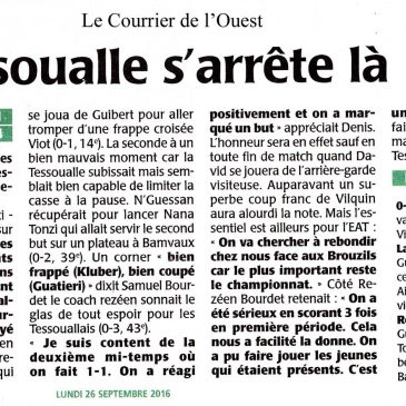 Le Courrier de l'Ouest du 26 septembre 2016