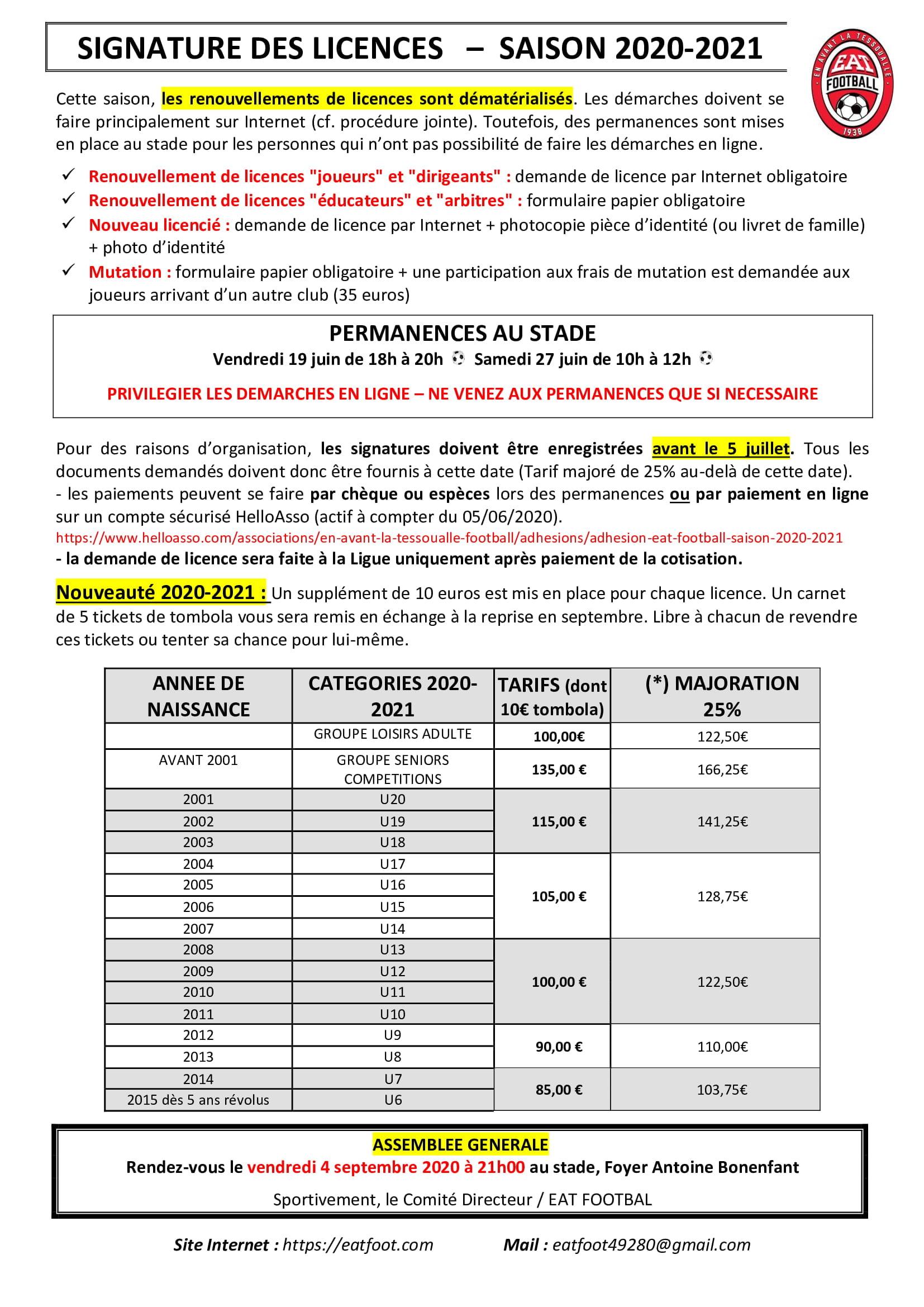 Campagne de licences 2020/2021