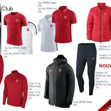 Nouvelle commande possible de vêtements du club…